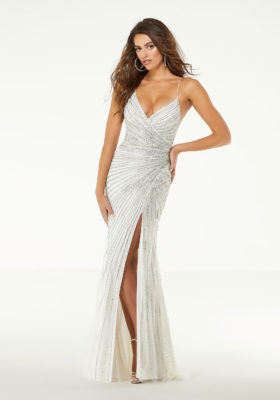 crystal beaded fitted white prom dress