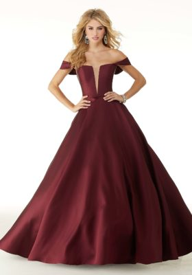 satin ballgown off shoulder prom dress in wine