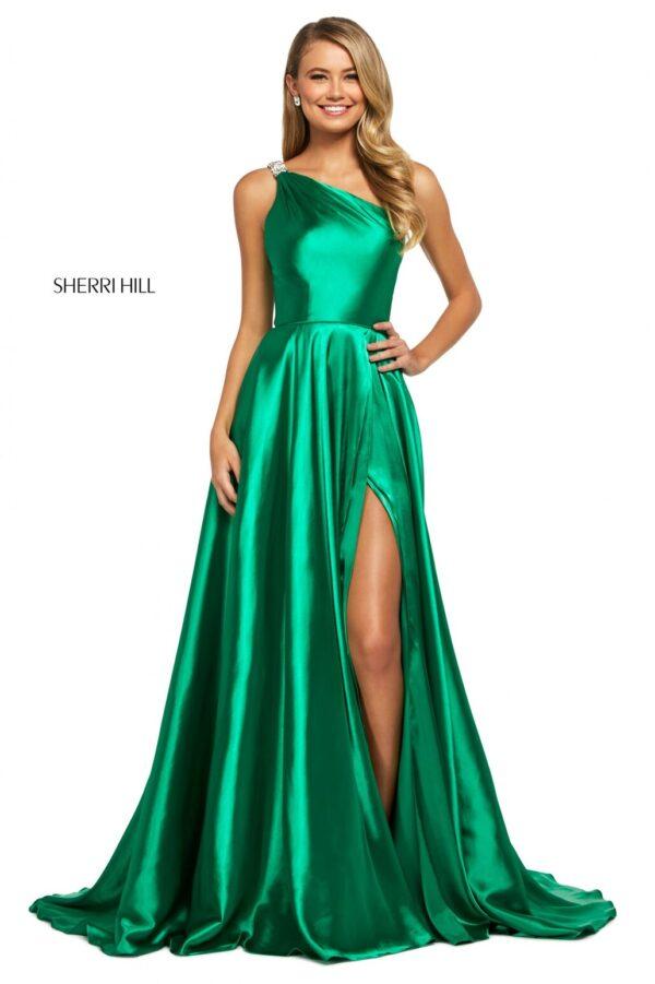 emerald charmeuse aline one shoulder prom dress