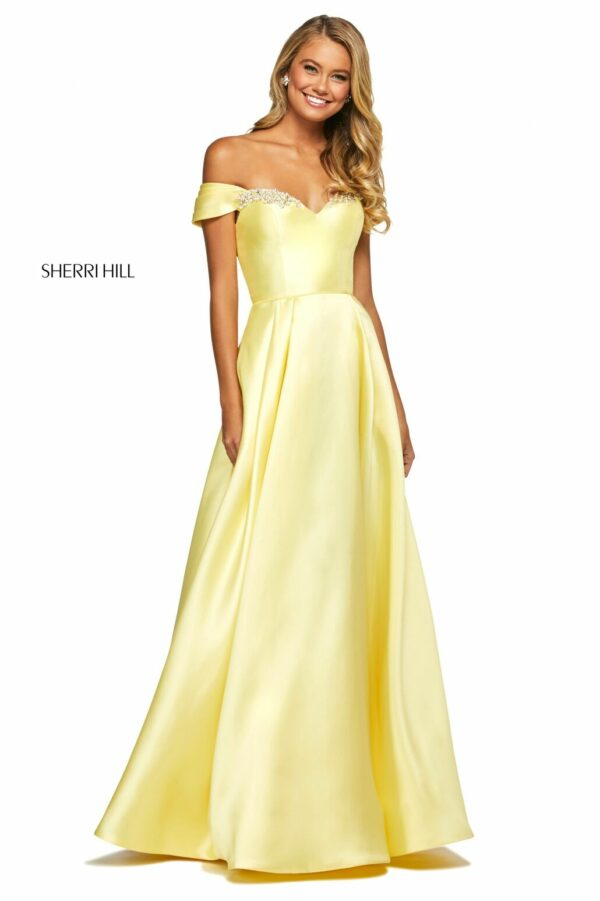 yellow aline off shoulder prom dress with sweetheart neckline