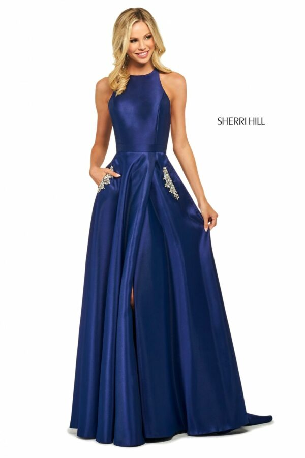 royal blue satin aline prom dress