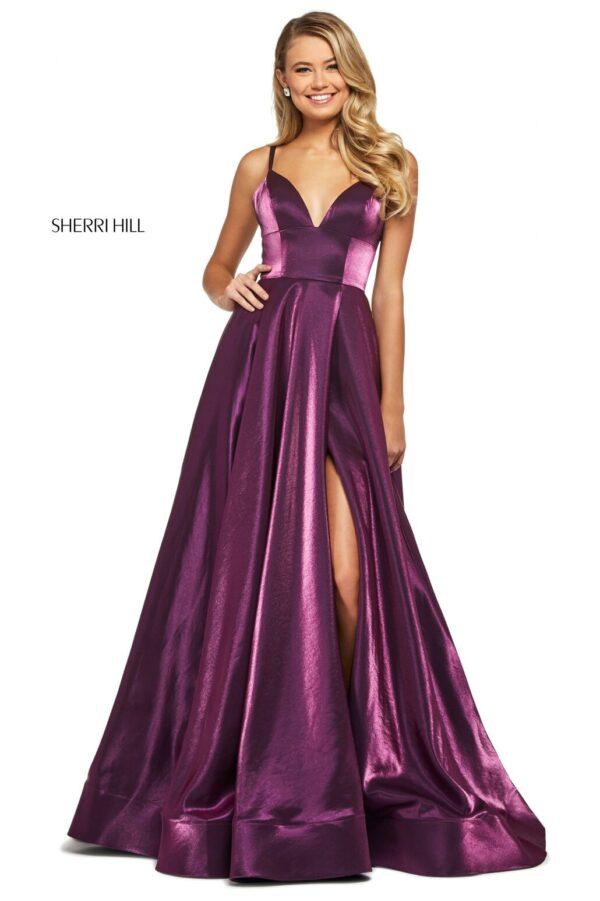 plum aline shimmer prom dress