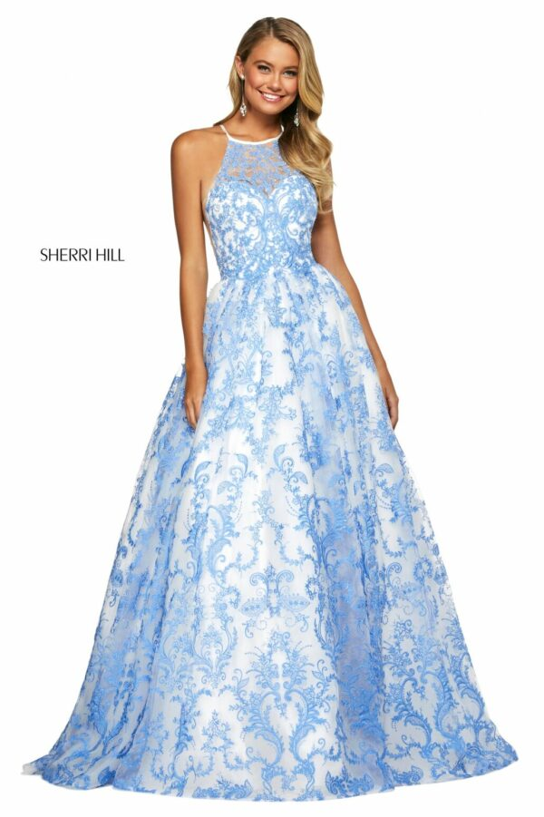 light blue ballgown with embroidery