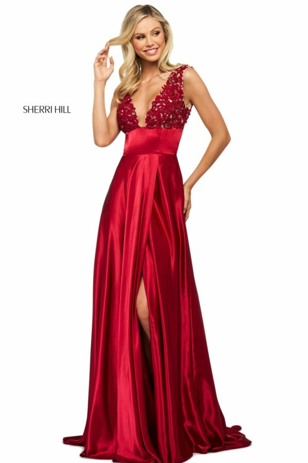 red charmeuse prom dress with slit
