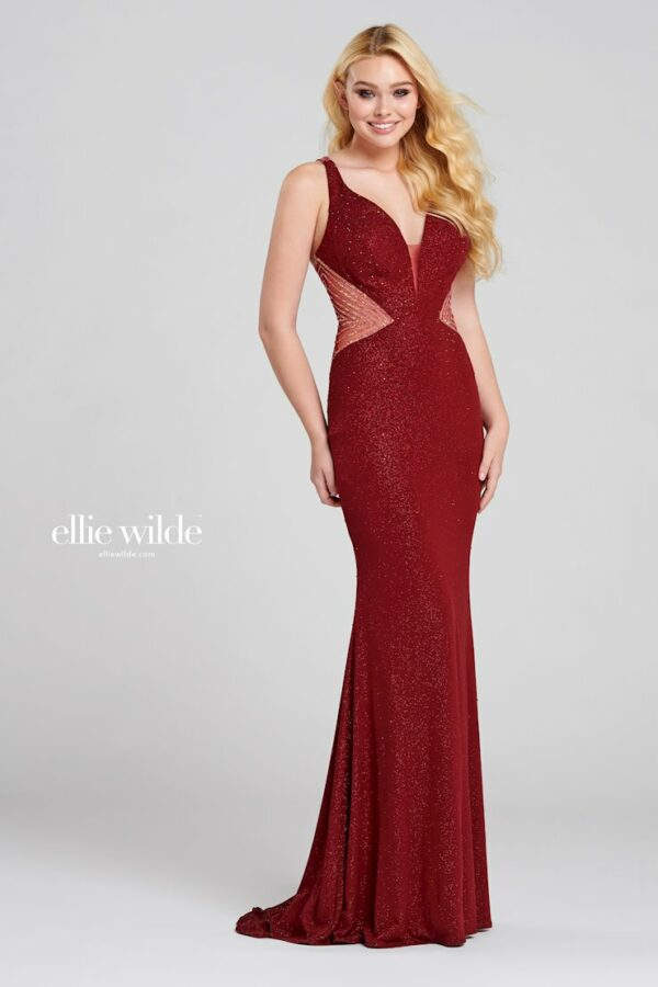 wine shimmer fitted jersey sheath prom dress with sheer sides