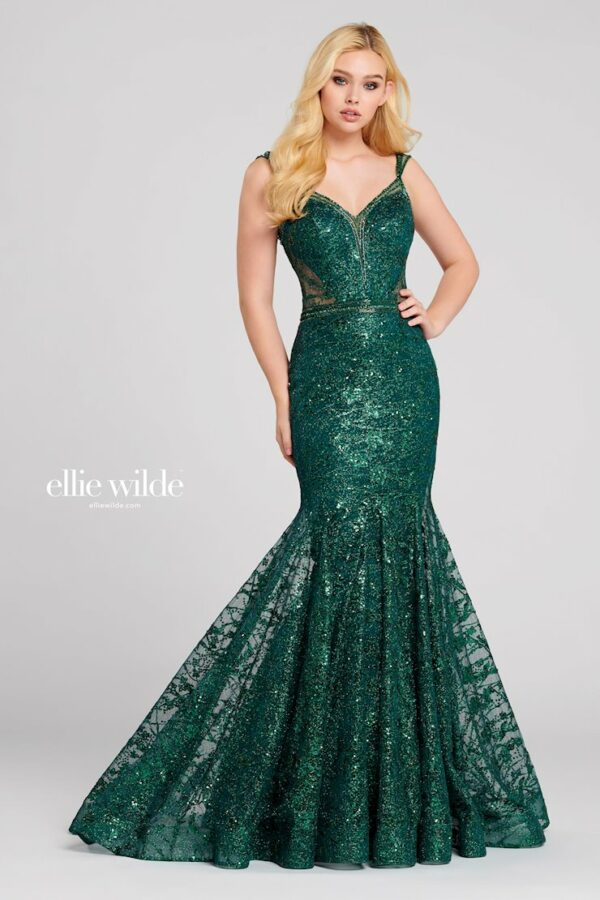 emerald sequin prom dress with mermaid skirt