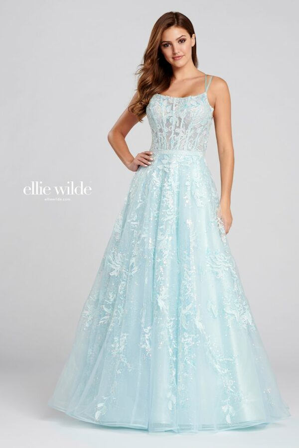 ice blue a-line prom dress with lace