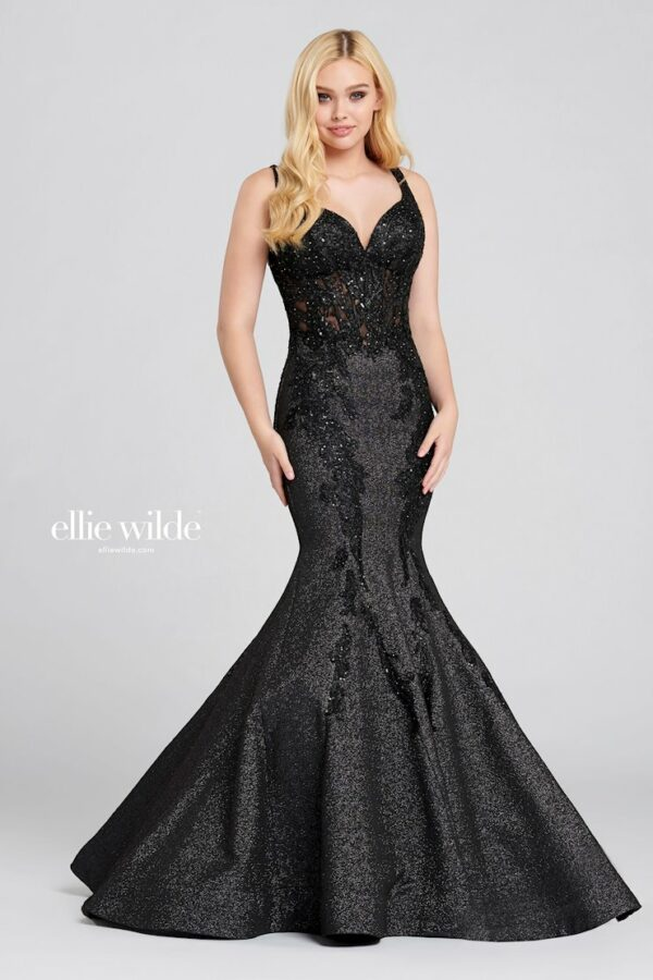 fit and flare black prom dress