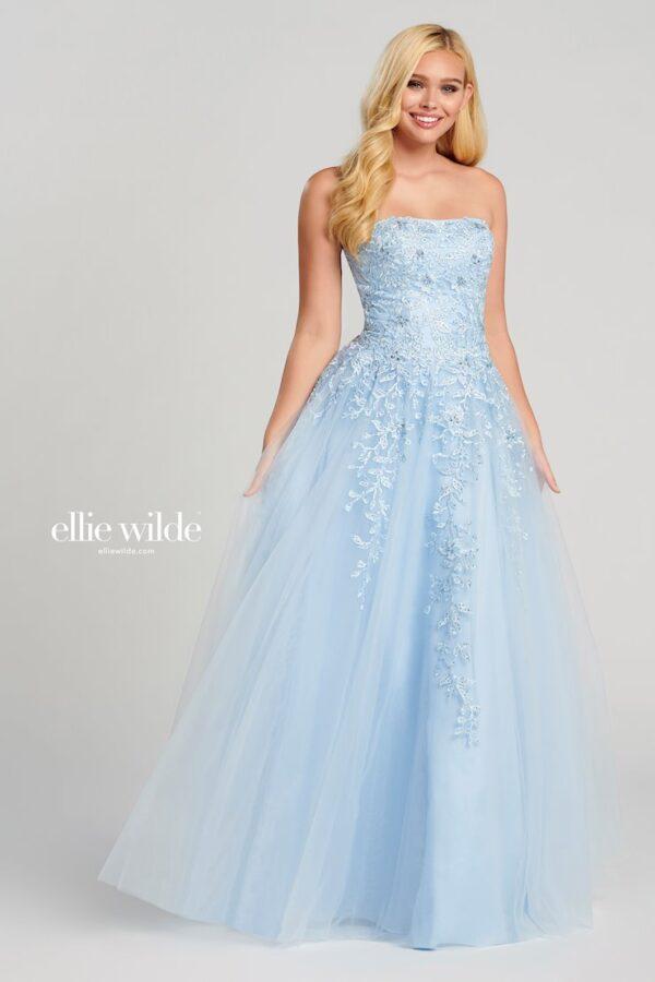 strapless light blue a-line prom dress