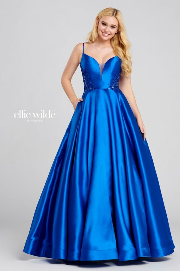 royal blue mikado ballgown